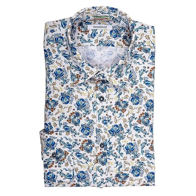 online store 8451f d1e25 POGGIANTI 1958 Camicia Uomo con Fantasia Floreale- Collo ...