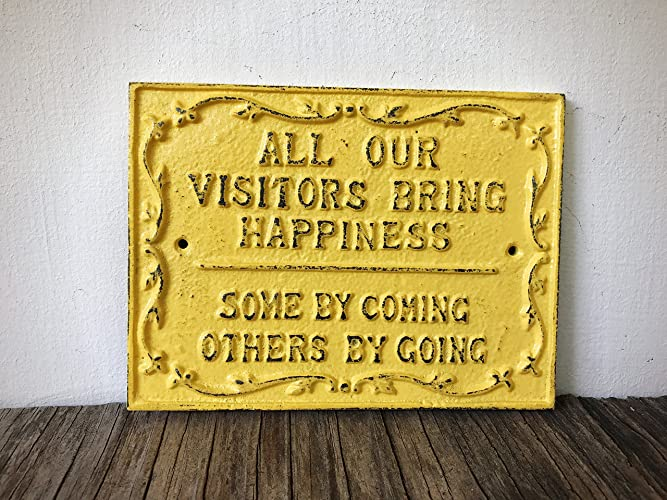 Rustic Guest Room Sign - Yellow Welcome Wall Art - Funny Farmhouse Entryway Decor - Unique Housewarming Gift