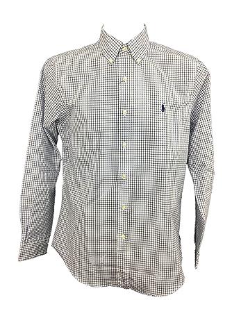 808078bf8 Polo Ralph Lauren Men s Plaid Poplin Sport Shirt (Navy Blue Checks ...