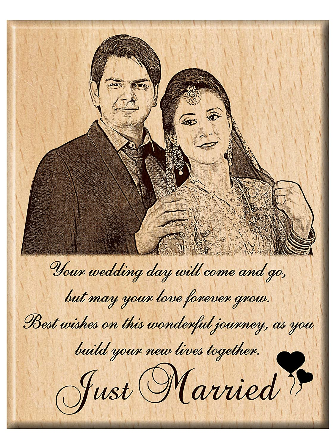 250589578 Buy Engraveindia Personalized Unique Wedding Anniversary Just Married Gift  - Wooden Engraved Photo Plaque Frame (8 Inches X 6 Inche Online at Low  Prices in ...