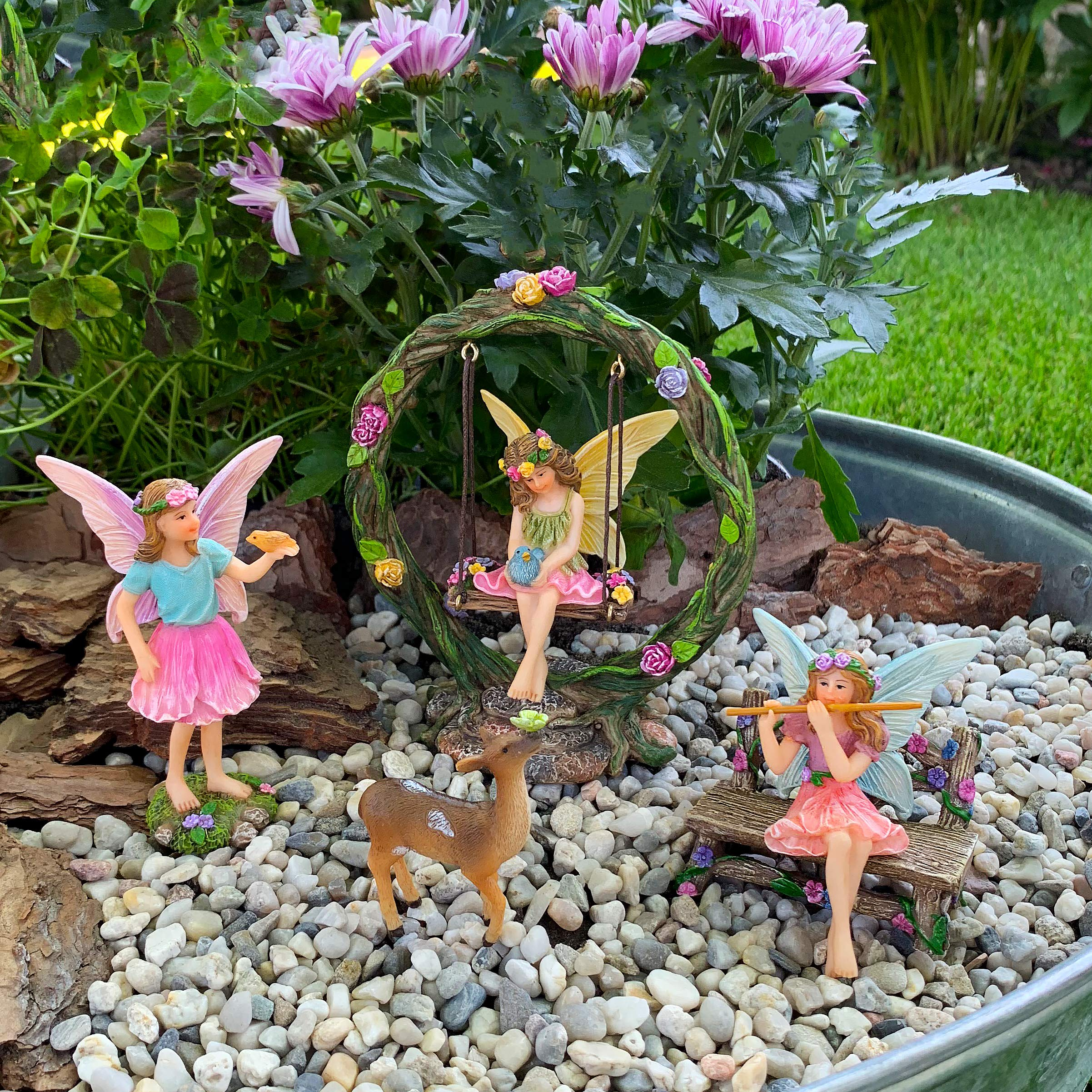 Mood Lab Fairy Garden Kit - Miniature Figurines with Accessories Swing Set of 6 pcs - Hand Painted for Outdoor or House Decor by Mood Lab (Image #4)