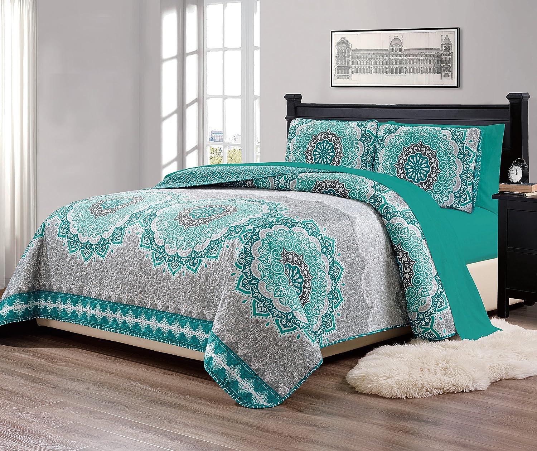 "Mk Collection 7pc King/California King Size Bedspread Quilt Over Size 118"" X 95"" Aqua Turquoise Coastal Plain Grey Green White Elegant Design and Sheet Set # Oslo Aqua"