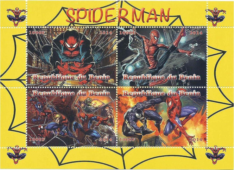 R/épublique du B/énin 2014//4 timbres Batman Marvel Characters menthe feuille de timbres pour les collectionneurs mettant en vedette des images fixes /à partir de films de Batman