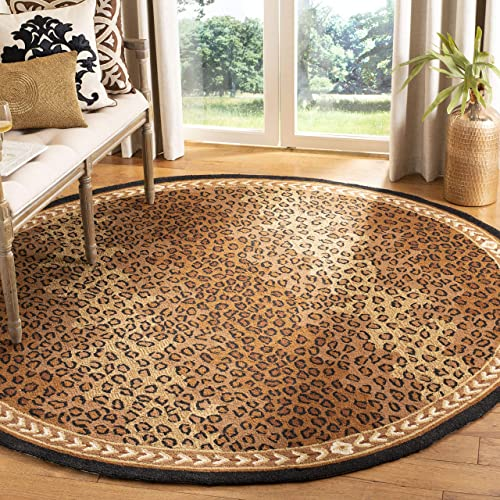 Safavieh Chelsea Collection HK15A Hand-Hooked Black and Brown Premium Wool Round Area Rug 8 Diameter