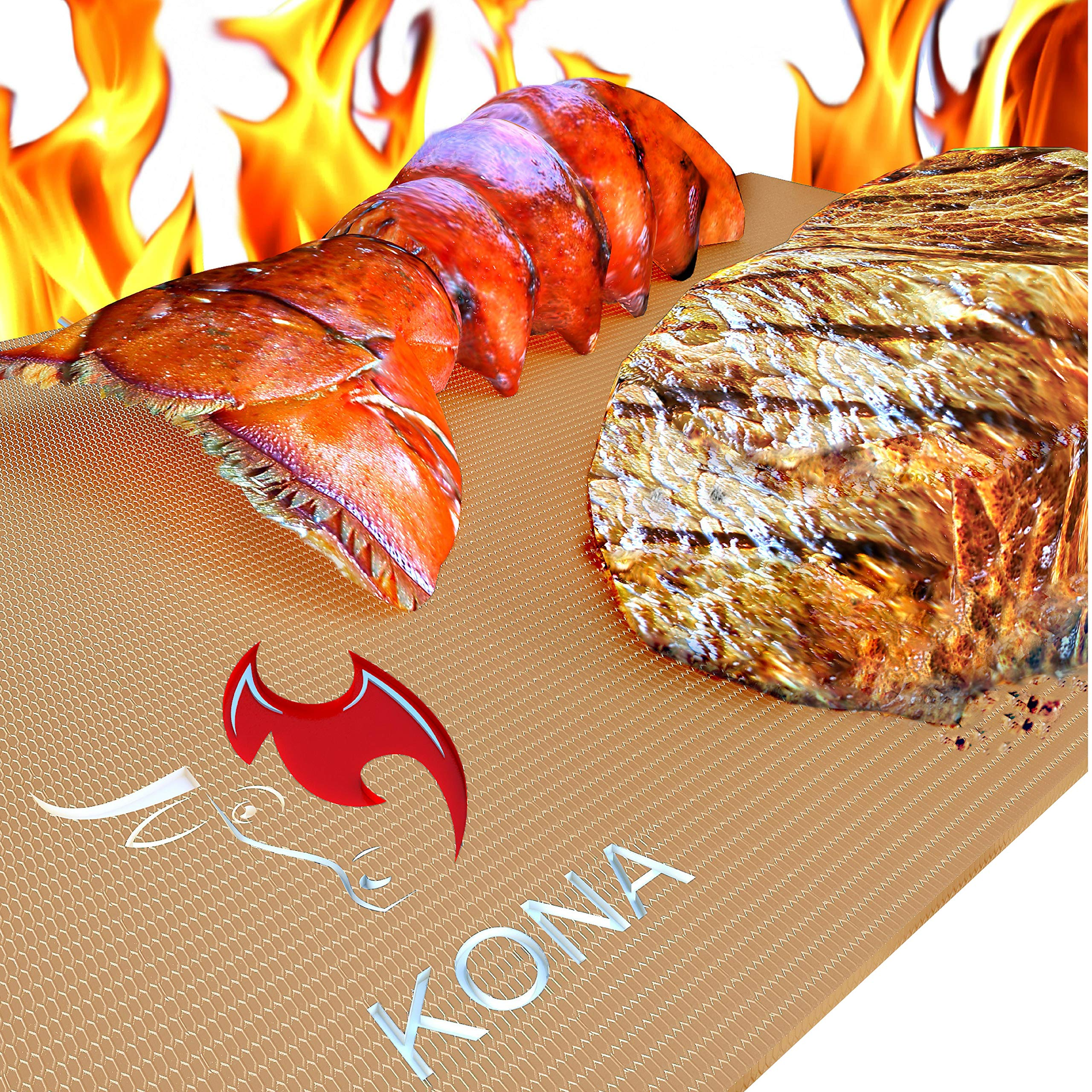 Kona Best Copper Grill Mats - Non Stick BBQ Grilling Mats for Gas Grills, Electric, Charcoal, Smokers (Set of 2) by Kona