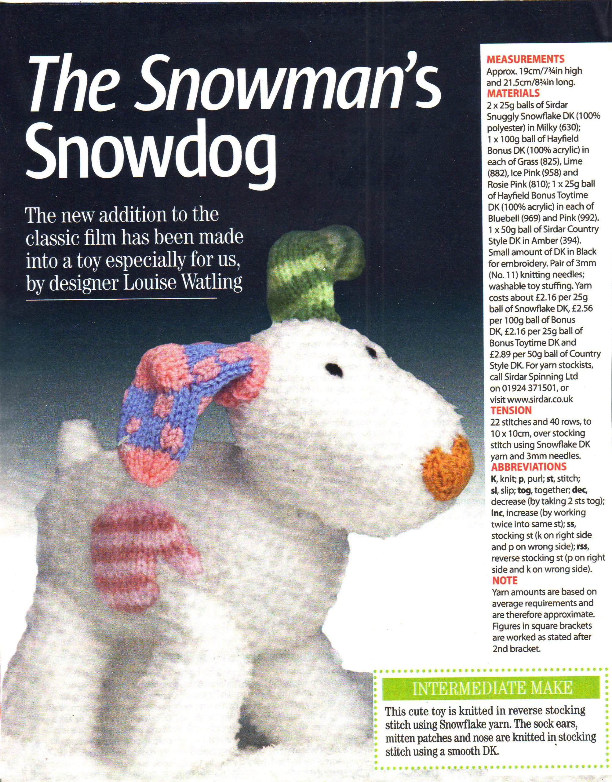 The snowmans toy snowdog knitting pattern measurements 19cm hign the snowmans toy snowdog knitting pattern measurements 19cm hign 215cm long materials sirdar snuggly snowflake dk womans weekly magazine pull out bankloansurffo Images