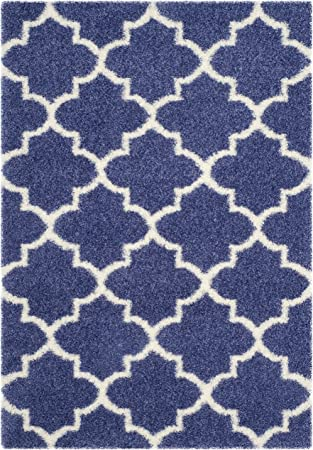 Safavieh Montreal Shag Collection Sgm832p Moroccan Trellis 2 Inch Thick Area Rug 8 X 10 Periwinkle Ivory Furniture Decor Amazon Com