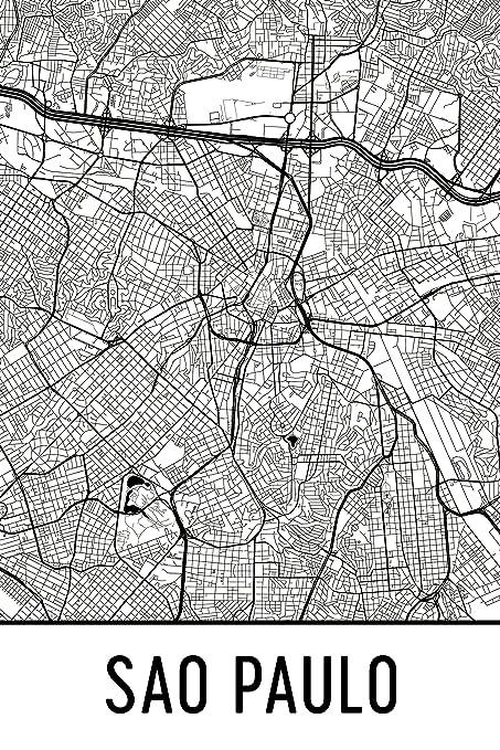 Amazon.com: Modern Map Art Sao Paulo Print, Sao Paulo Art, Sao Paulo ...