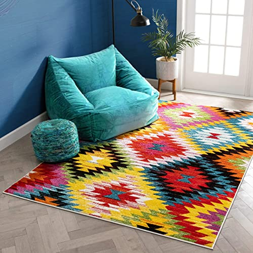 Well Woven Sunset Multicolor Navajo Diamond Southwestern 8×10 7'10″ x 9'10″ Area Rug