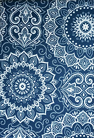 Max Studio Indoor / Outdoor Tablecloth Blue And White Round Bandana  Medallion Pattern    70