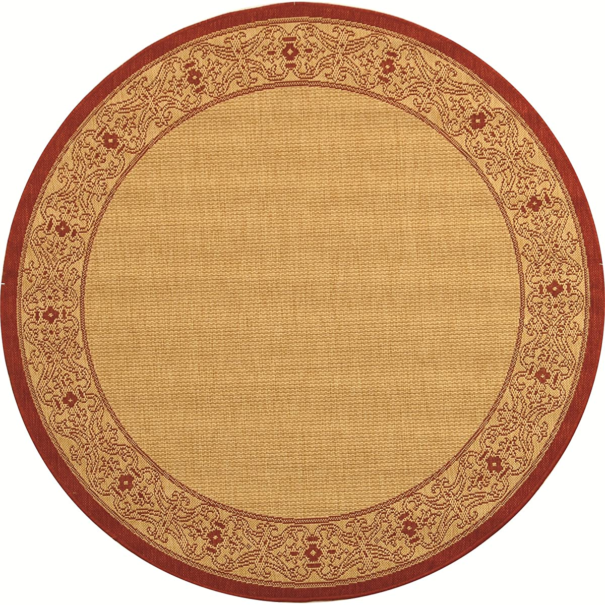 """Safavieh Courtyard Collection CY2099-3701 Natural and Red Indoor/ Outdoor Round Area Rug (53"""" Diameter)"""