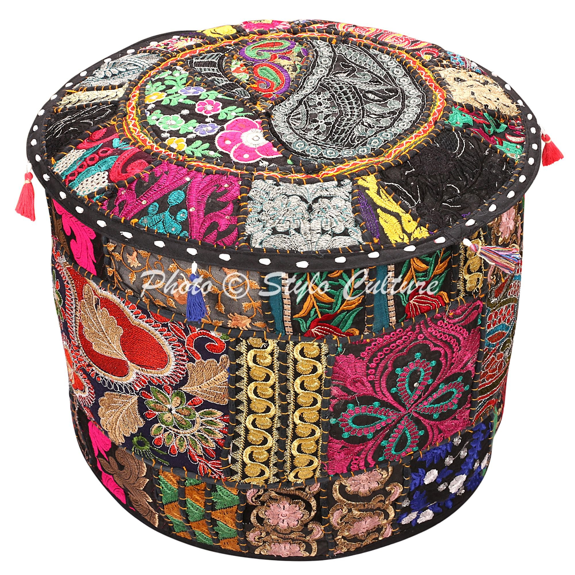 Stylo Culture Decorative Ottoman Pouf Cover Living Room Round Patchwork Embroidered Pouffe Ottoman Cover Black Cotton Floral Traditional Furniture Footstool Seat Puff Cover (16x16x13)