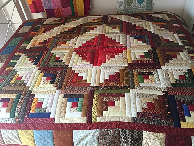 Incroyable Handmade Traditional Country Rustic Patchwork Quilt Log Cabin,quilt Double, Quilt King Or Quilt