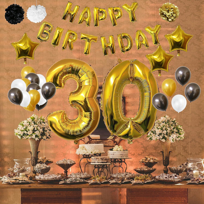 BELLE VOUS 30 Cumpleaños Decoracion - Globos de Cumpleaños Guirnalda - Globos de Helio para el Aniversario de Boda, Fiesta Décor para Niña Niño Hombre Mujer ...