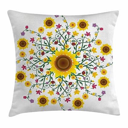 Amarillo Mandala manta almohada Funda de cojín por Ambesonne, redondo, con Wild primavera flores