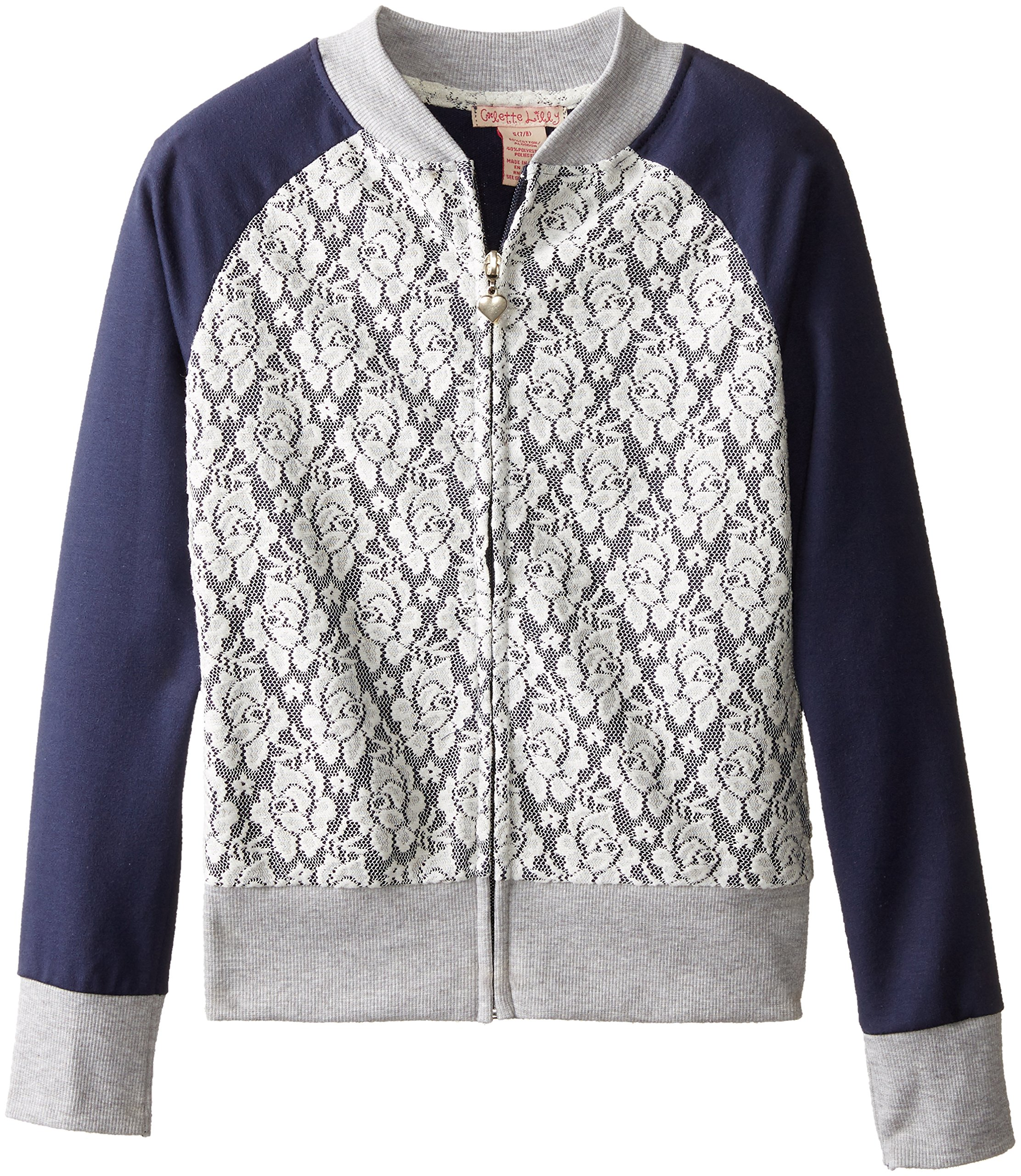 Colette Lilly Big Girls' Lace Front Bomber Style Sweatshirt,Peacoat,Small