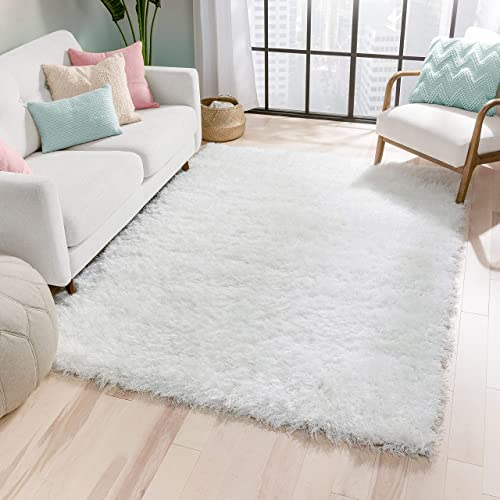 "Well Woven Kuki Shag Chie Glam Solid Ultra-Soft White Shag 7'10″"" x 9'10″"" Area Rug KU-11-7"