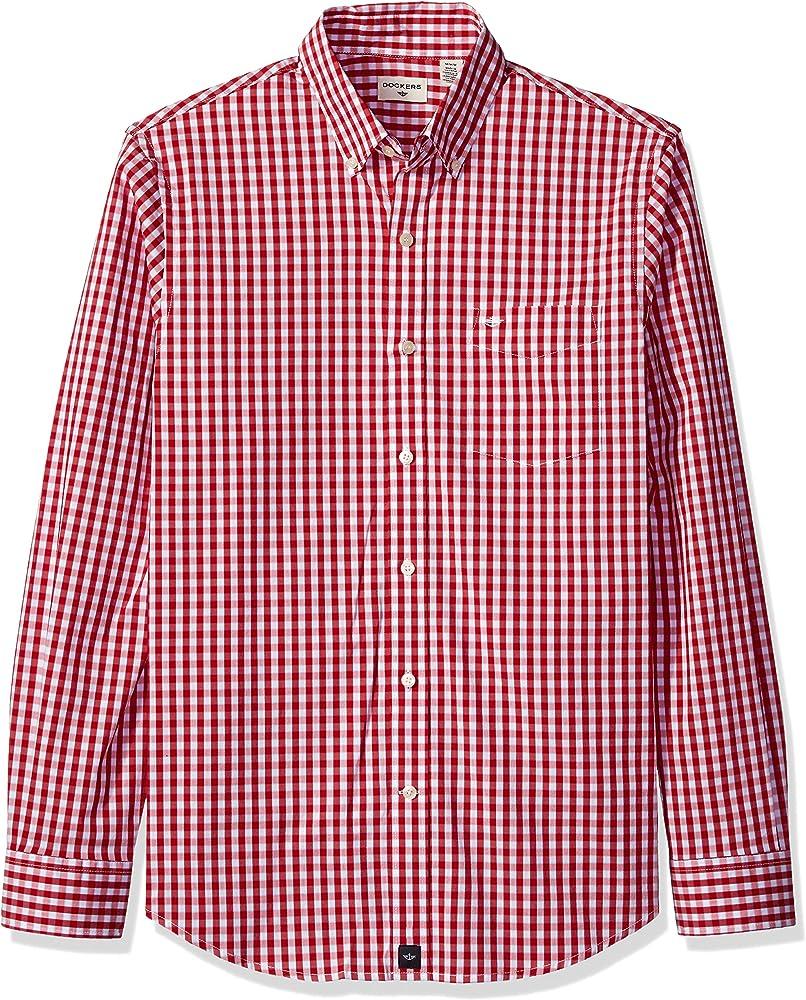 Dockers Camisa de manga larga con botones para hombre - Rojo - Small: Amazon.es: Ropa y accesorios