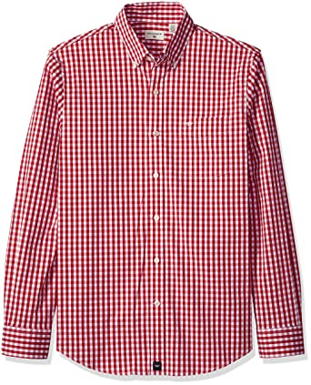 Dockers Men's Comfort Stretch Soft No Wrinkle Long Sleeve Button Front Shirt,  Dark Red,