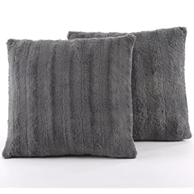 Cheer Collection Set of 2 Decorative Throw Pillows - Reversible Faux Fur to Microplush Accent Pillows - 18  x 18  - Grey