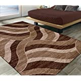 """Silk Road Concepts Collection Contemporary Rugs, 5'3"""" x 7'3"""", Chocolate Brown"""