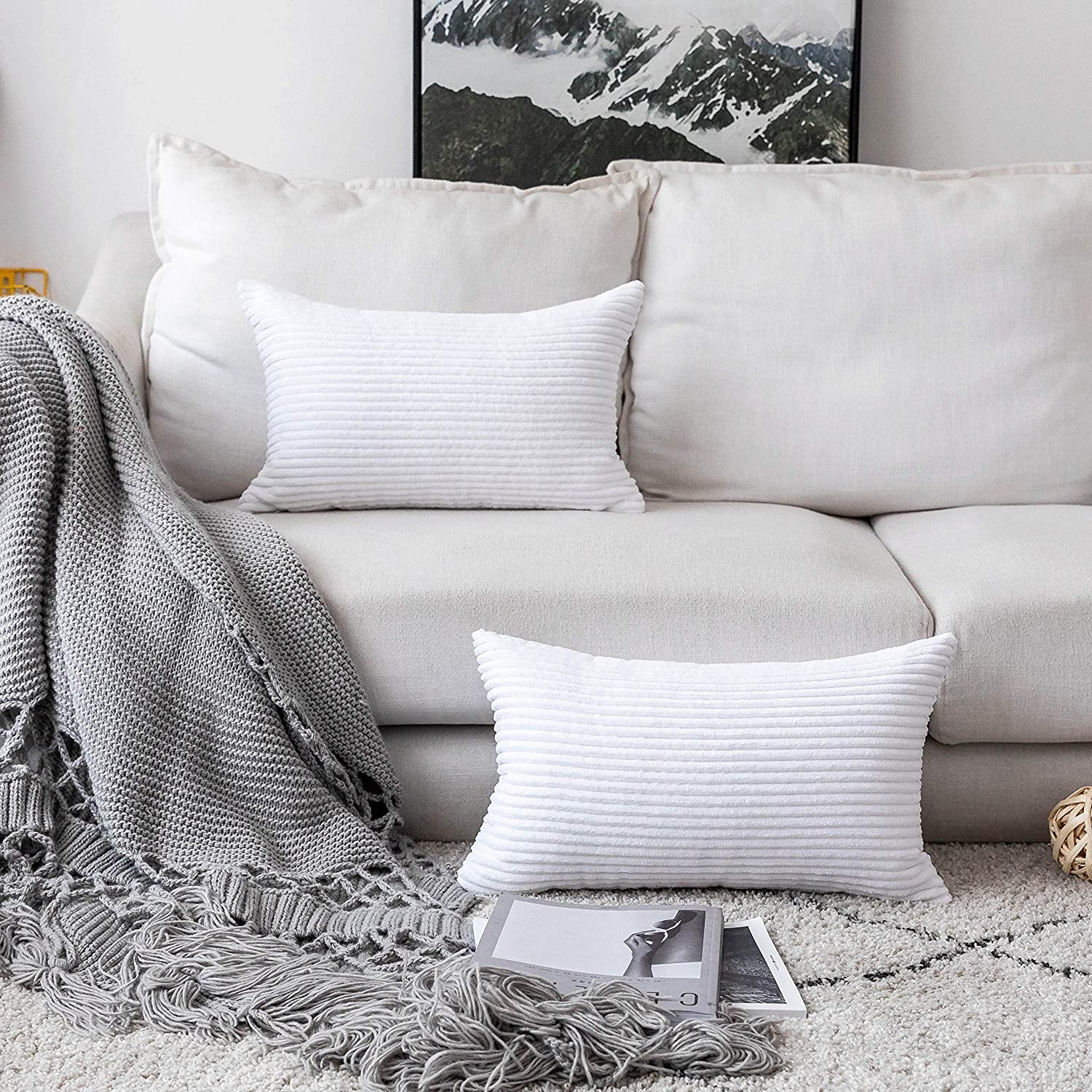 Home Brilliant Oblong Pillow Decorative Striped Corduroy Rectangle Cushion Cover Oblong Pillow Cover for Couch, 12 x 20 Inches, Set of 2, Pure White