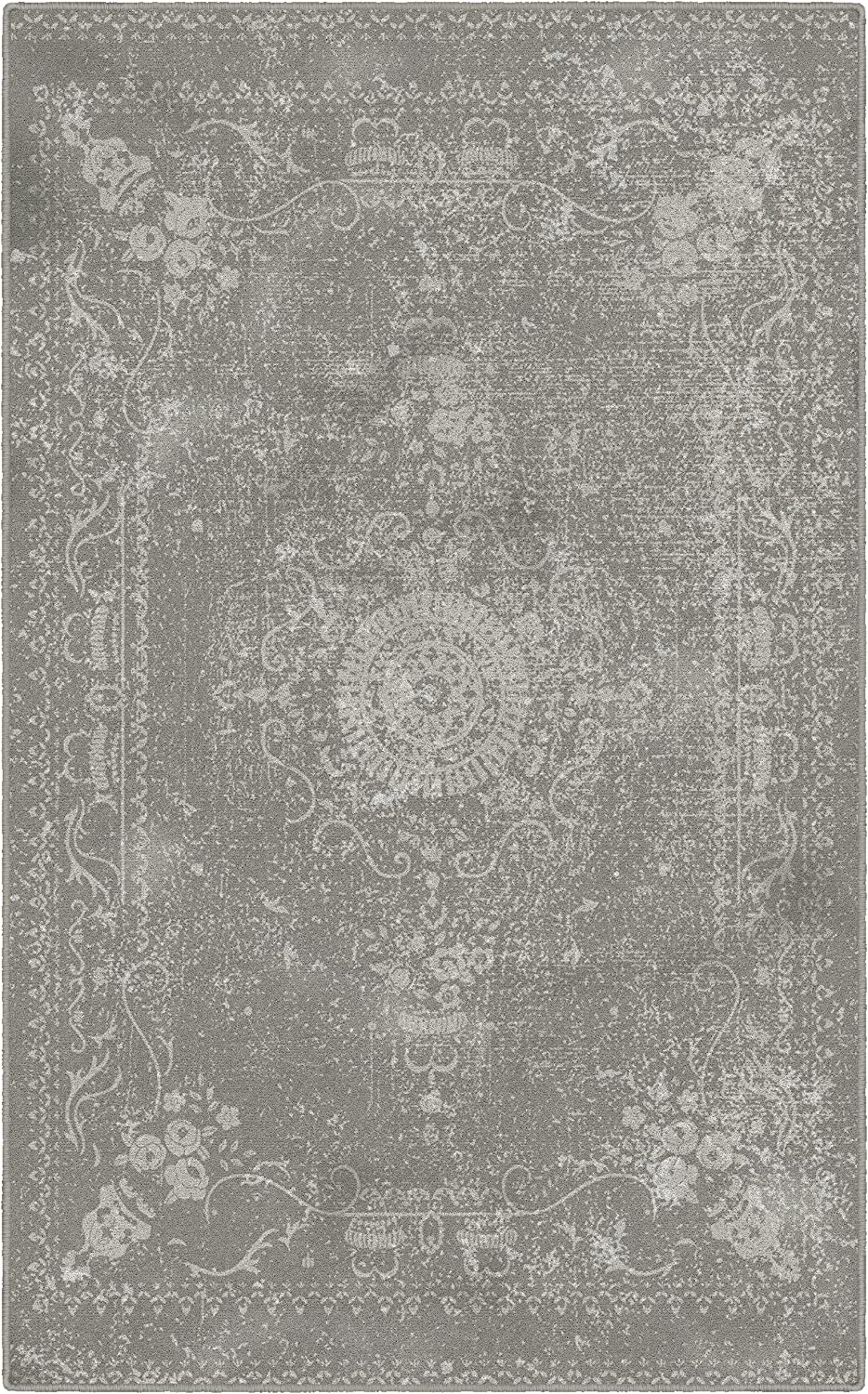 Brumlow Mills Neutral Home Indoor Area Rug with Distressed Persian Print Pattern for Living Room Decor, Dining Room, Kitchen Rug, or Bedroom, 2'6