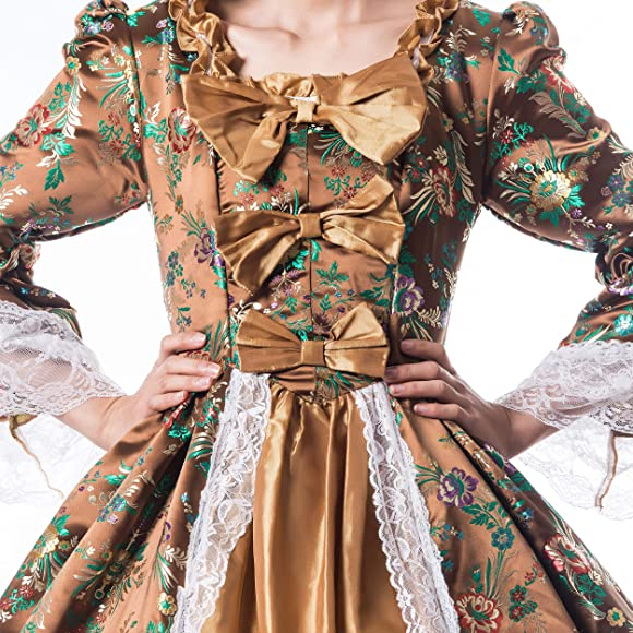 Champagne Gold Satin Long Sleeve Halloween Cosplay Costume Lolita Dress