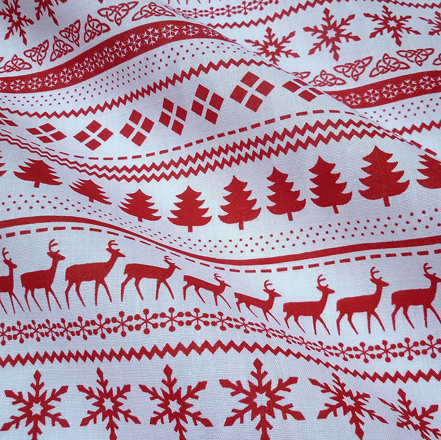 Red & White Christmas Fairisle Polycotton Fabric (Per Metre) by Nortex Mill