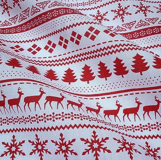 Red & White Christmas Fairisle Polycotton Fabric (Per Metre) by ...