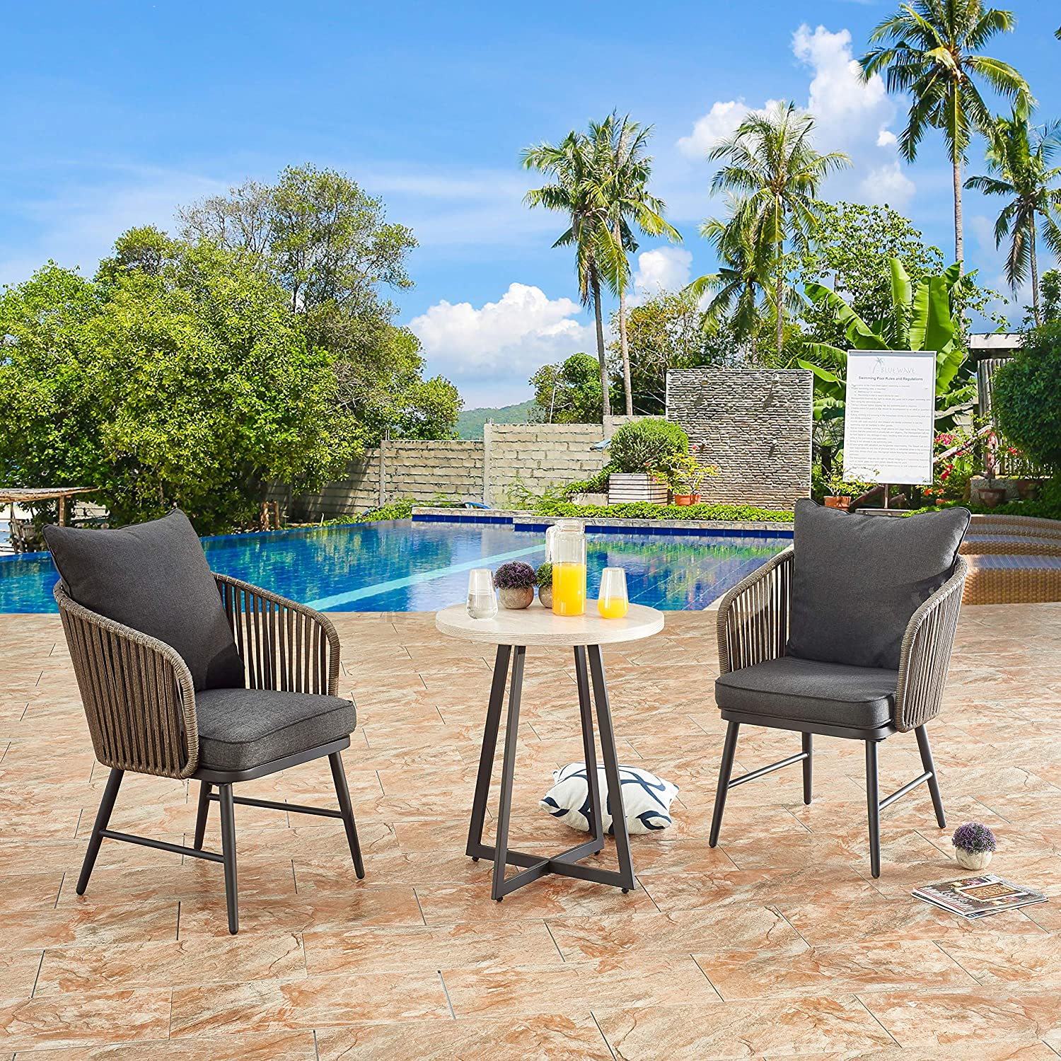 LOKATSE HOME Outdoor 3 Piece Bistro Set Patio Wicker Modern Balcony Furniture Include 2 Chairs with Seat and Back Cushions and 1 Coffee, Beige Table Top