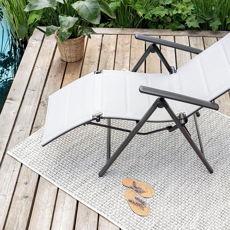 Stuhl f/ür Garten Hochlehner Terrasse und Balkon geeignet Klappstuhl Vanage gepolsterter Gartenstuhl mit Fu/ßableger in grau