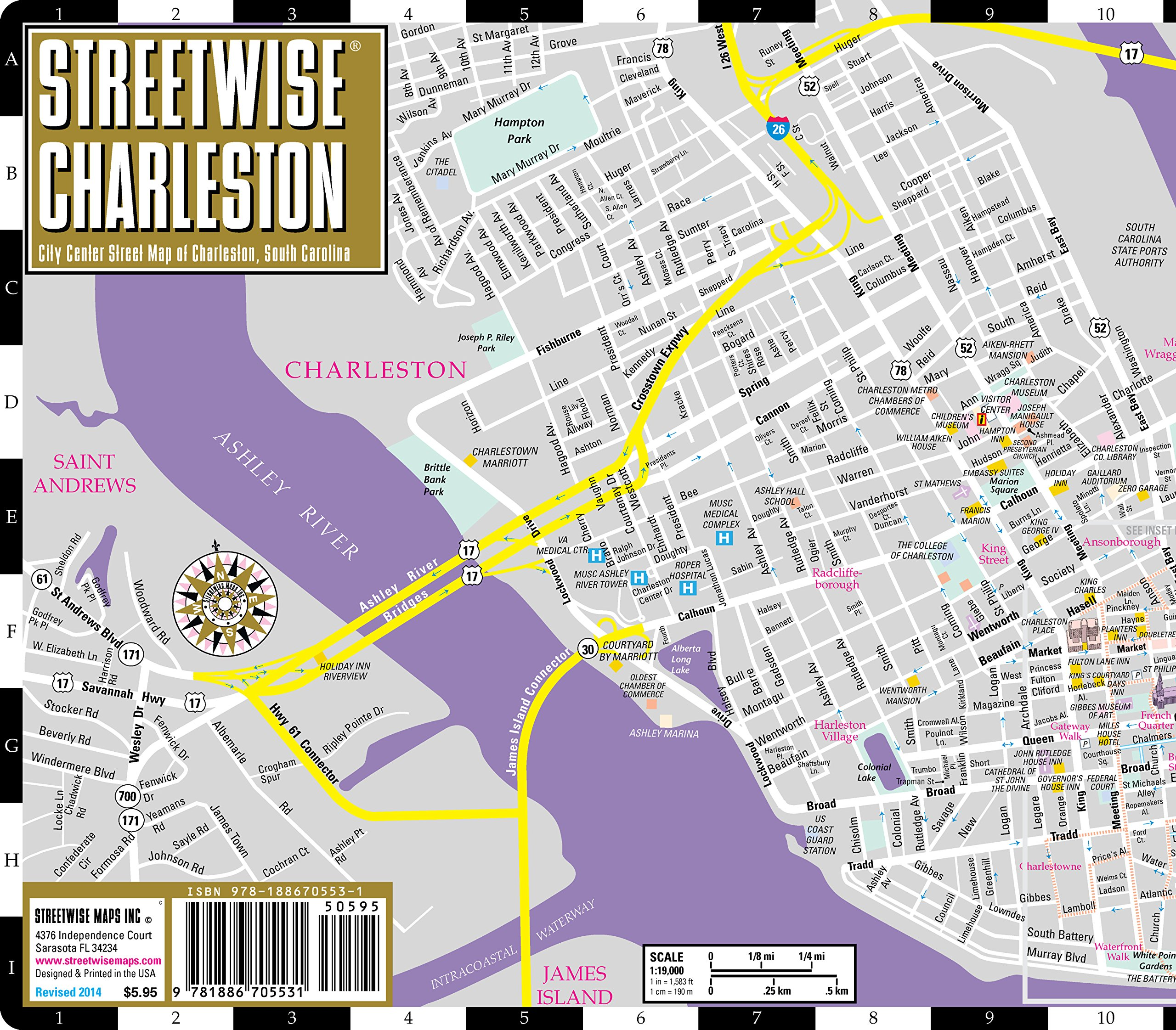 Streetwise Charleston Map Laminated City Center Street Map of – Charleston Sc Tourist Attractions Map