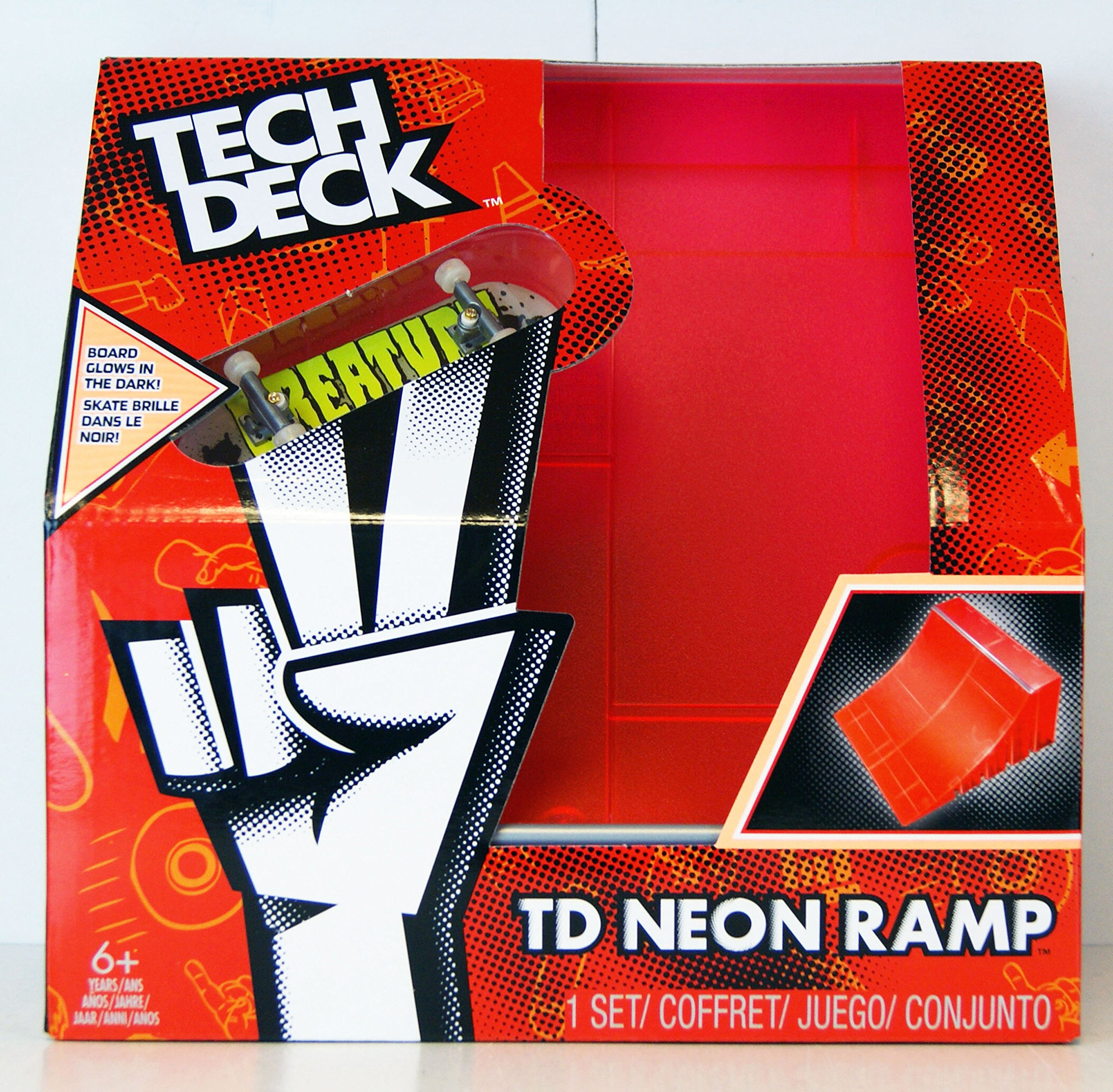 Spinmaster Tech Deck Neon Ramp, Red Quarter Pipe by Spin Master
