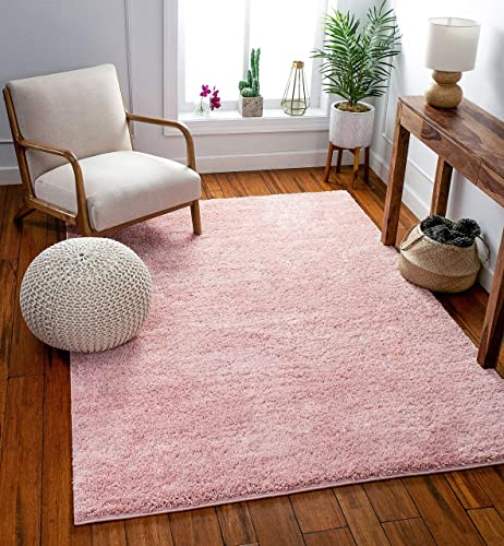 Well Woven Solid Color Blush Pink Soft Shag Area Rug 5'3″ x 7'3″