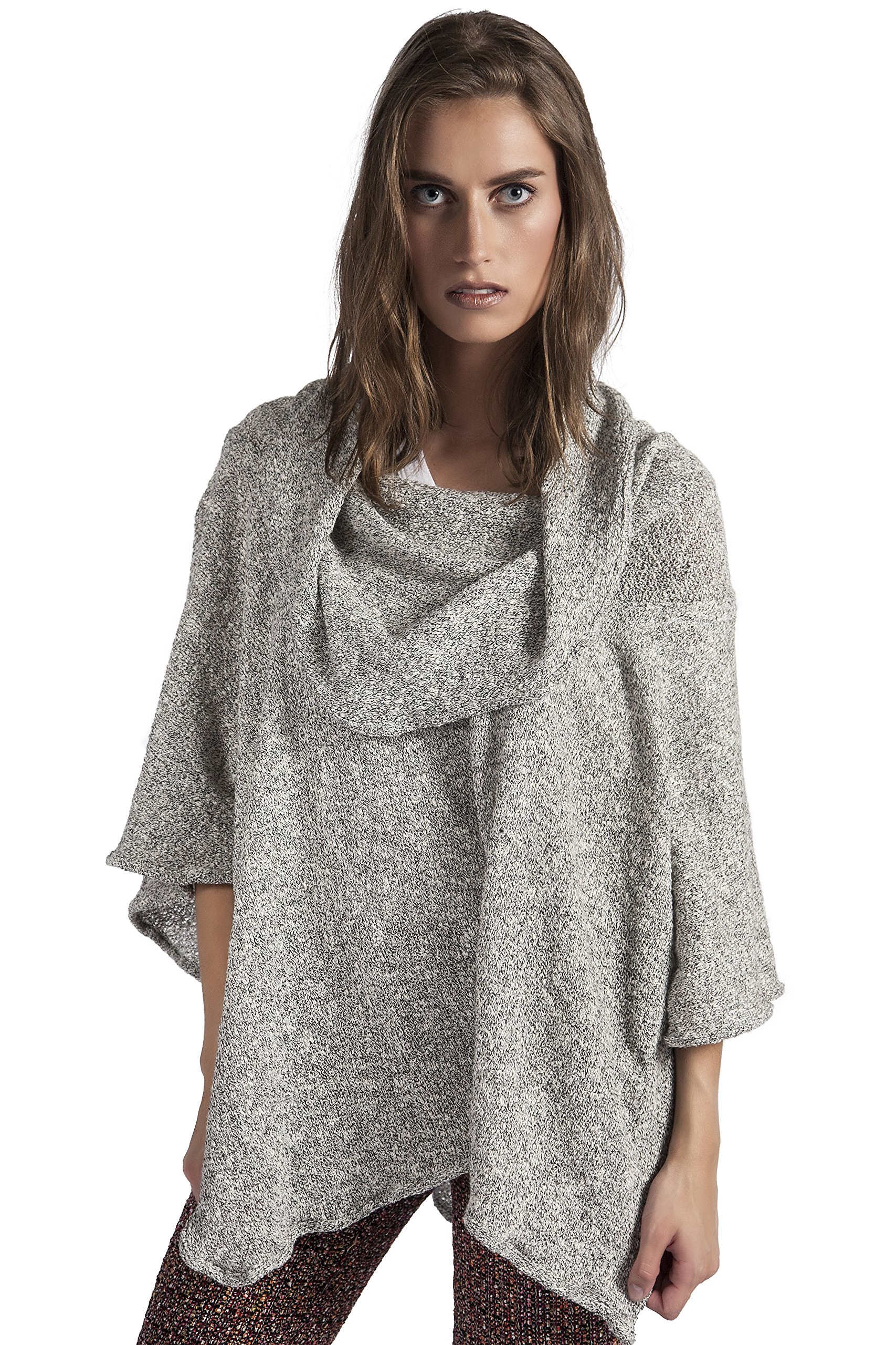 HOODIE PONCH Heidi Hess Designer Poncho Sweater Converts Into Scarf, Hoodie or Top - Soft Gray, One Size