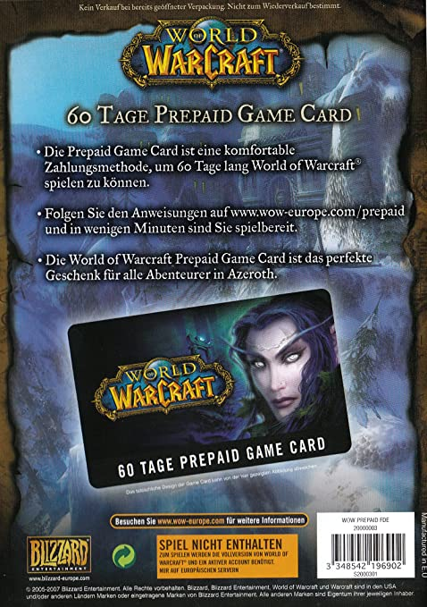World Of Warcraft Gamecard 60 Tage Pre Paid Amazonde Games