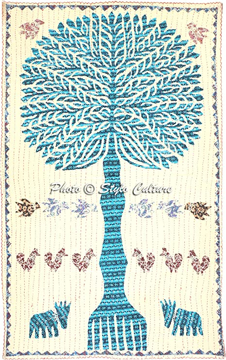 Indian Embroidered Wall Hanging Handmade Ethnic Tree of Life Stitched Applique