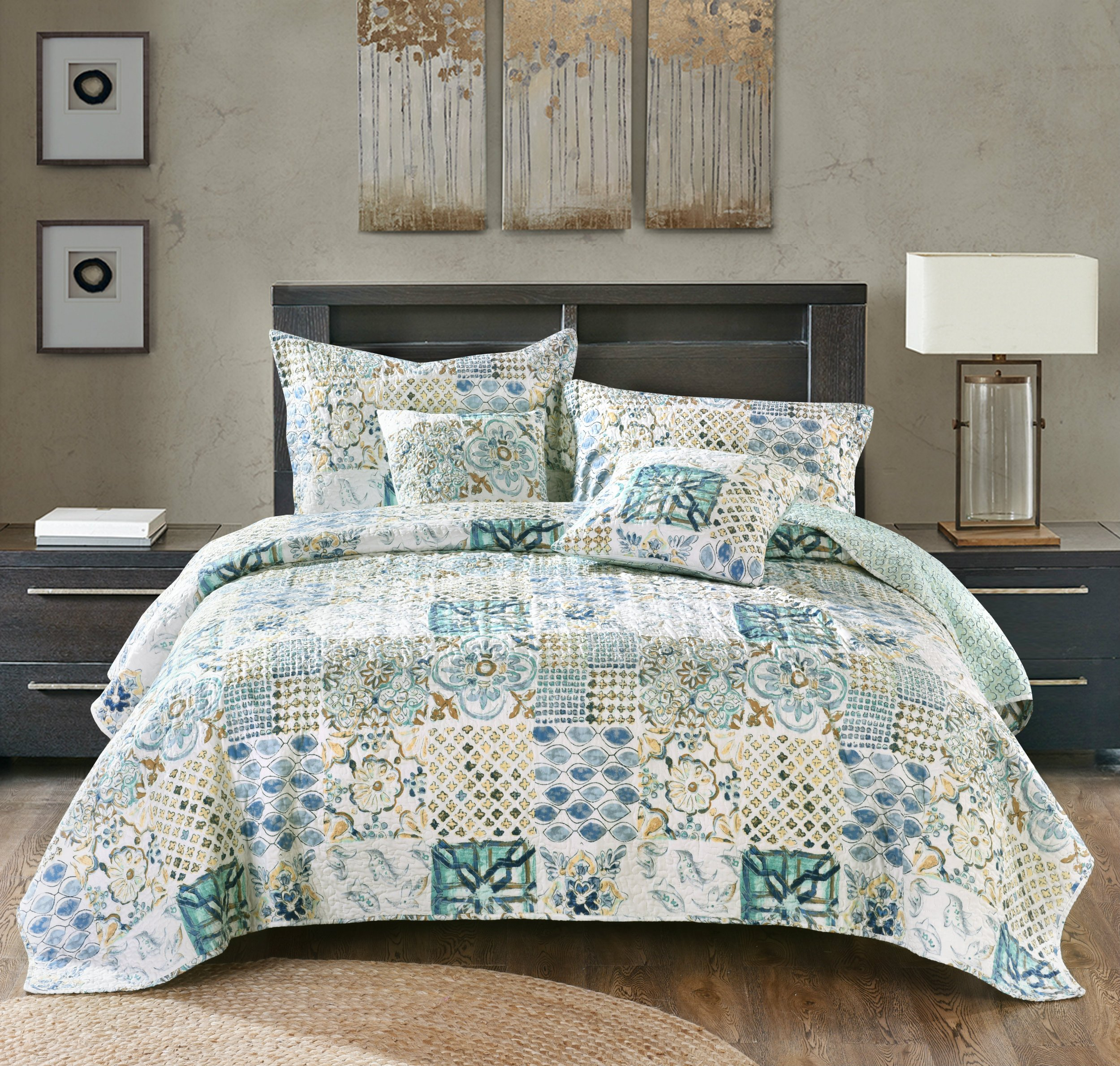 Tache Blue Floral Patchwork Bedspread - Watercolor Spring Time - Quilted Reversible Coverlet Bedding Set - Bright Vibrant Multi Colorful Blue White Green Floral Print - Queen - 3-Pieces