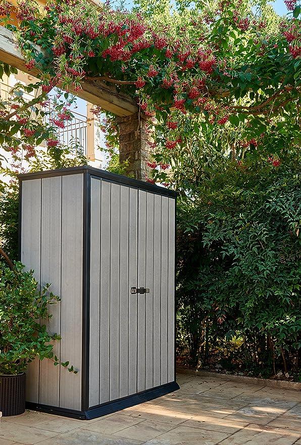 Keter - Cobertizo de jardín exterior Duotech Hight Store, Color gris, 140 x 77 x 181.5 cm / 1500 L: Amazon.es: Jardín