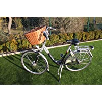 Marcus Hundefahrradkorb für Fahradlenker aus Weide mit Metallgitter und Kissen XL oder XXL Natur Weidenkorb Lenkerkorb für Fahrrad