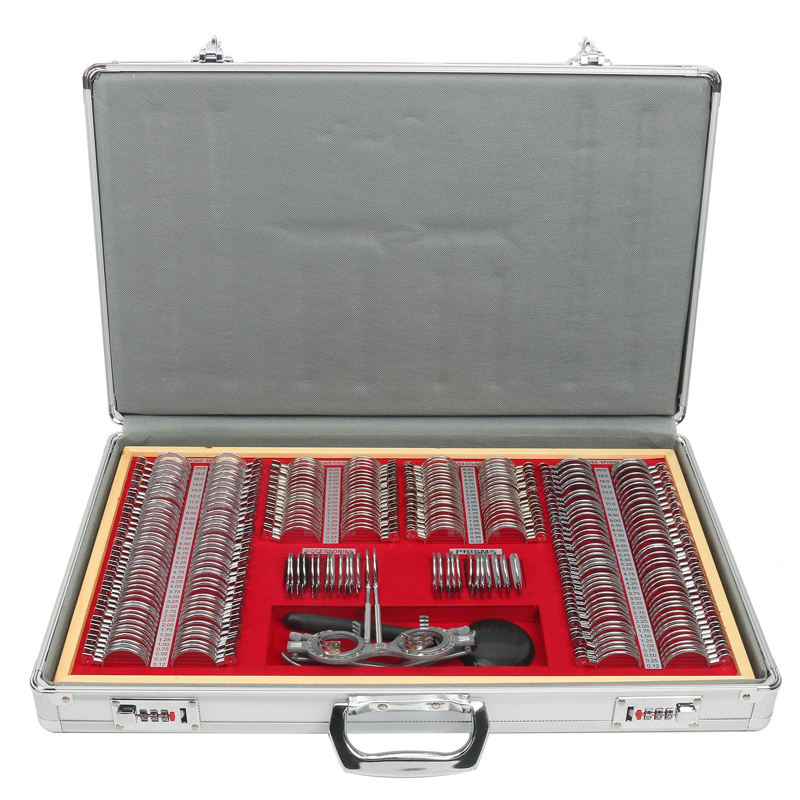 Yaegoo Optical Trial Lens Set Metal Rim Ophthalmic Trial case lenses with Aluminum Case (266-Lens Set-Metal Rim)