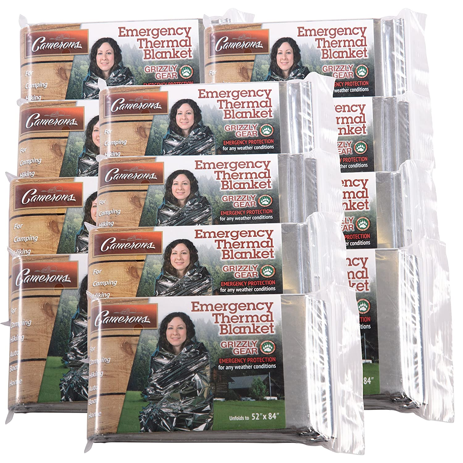 Emergency Thermal Blankets (12 Pack) - Grizzly Gear - Folds to 52' X 84' SCS Direct