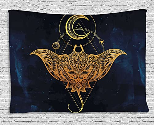 Ambesonne Stingray Tapestry, Sea Ocean Animal Creature with Detailed Art Geometric Patterns Print, Wide Wall Hanging for Bedroom Living Room Dorm, 60 X 40 , Petrol Blue