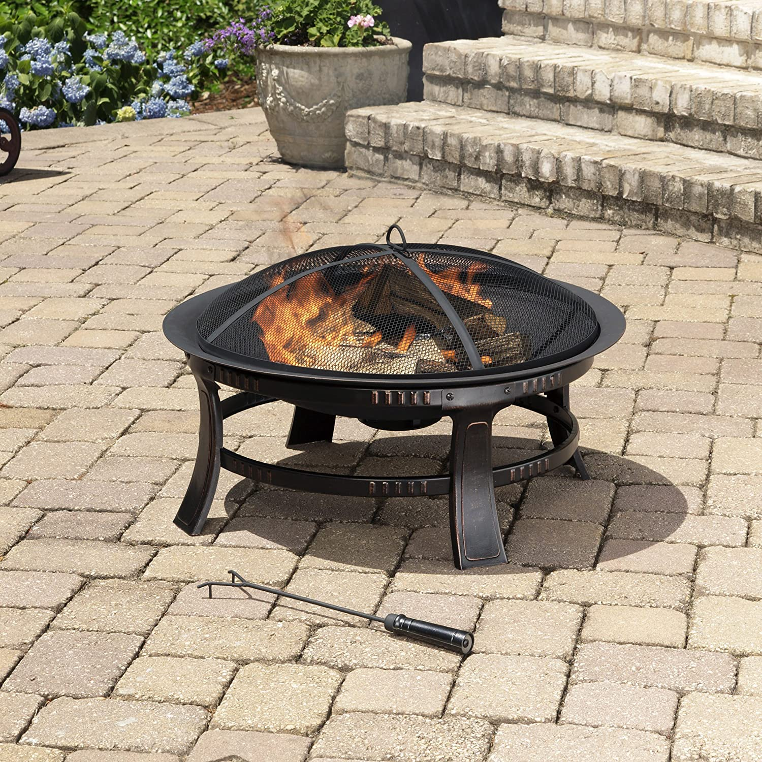 Amazoncom Pleasant Hearth Brant Round Fire Pit Inch Firepit - 30 inch fire pit table