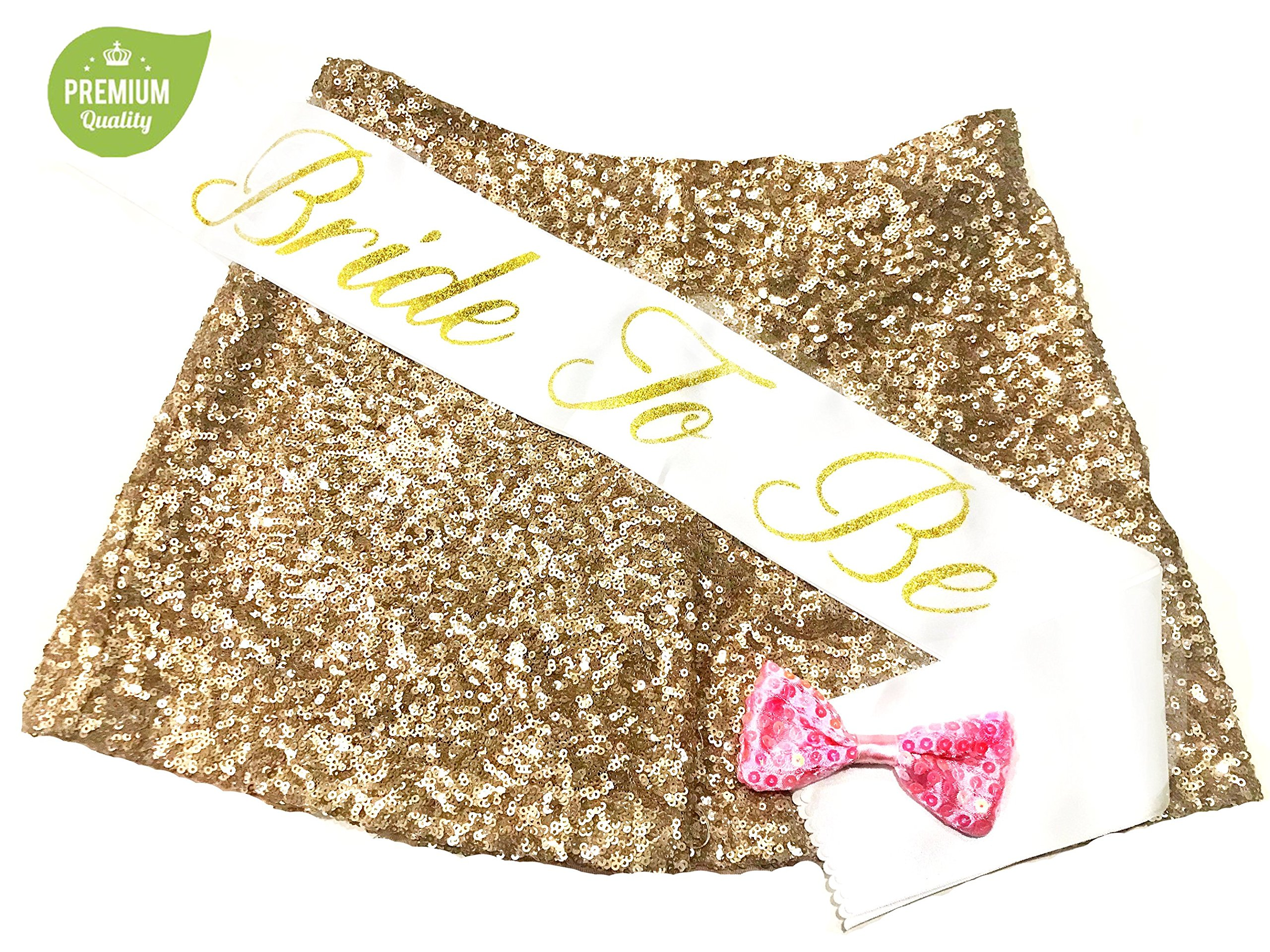 Bachelorette Party Decorations Kit Gold - Pink Heart Banner, Bridal Shower Sash, Bride to Be Banner, Bachelorette Party Straws, Bride Tribe Pins, Gold Balloons by Montpelle (Image #4)