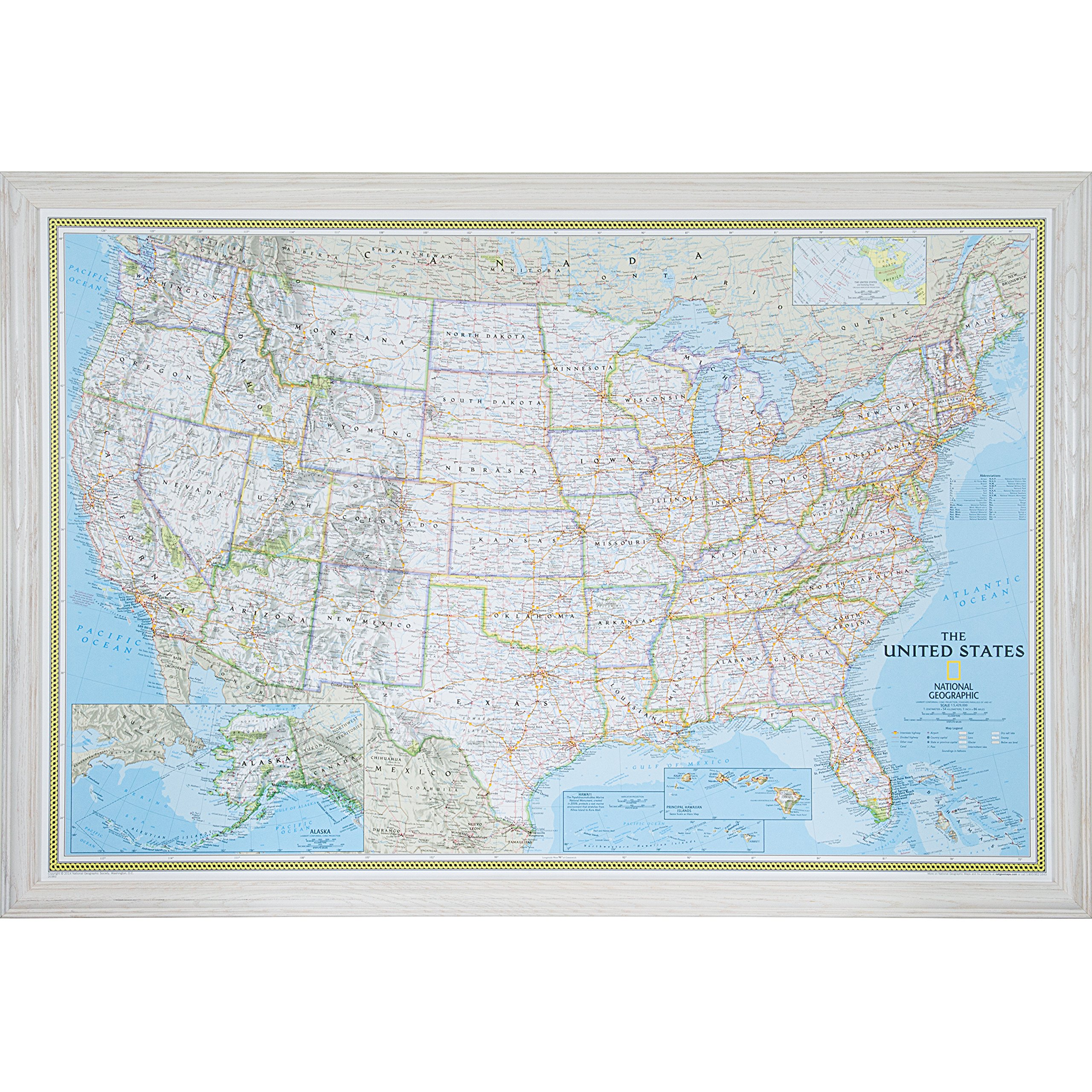 Craig Frames Wayfarer, Classic United States Push Pin Travel Map, Traditional Whitewash Solid Wood Frame and Pins, 24 by 36-Inch