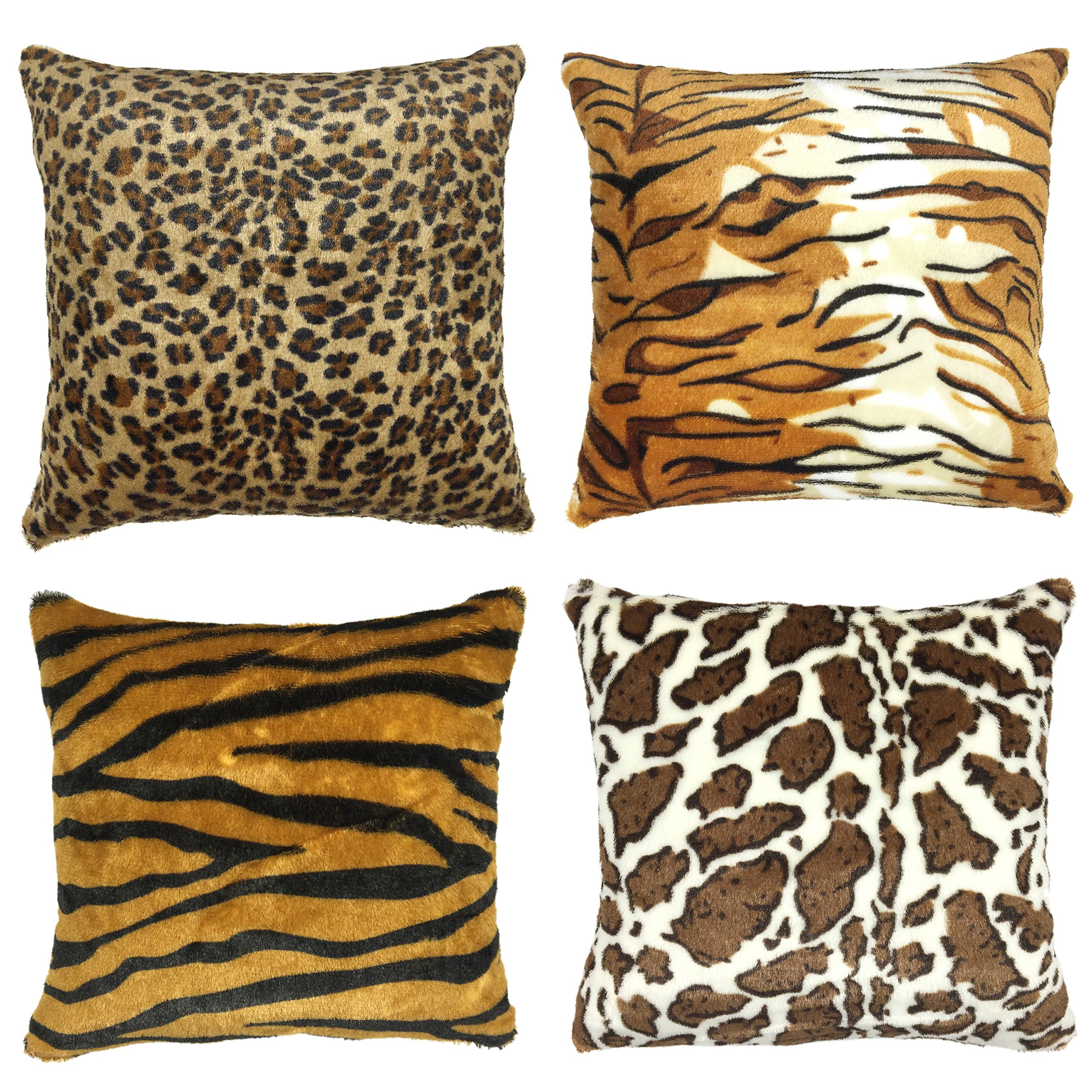 YOUR SMILE Set of 4 Decorative Throw Pillow Case Cushion Covers Square 17x17 Inch(Faux Fur Animal Print)