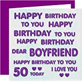 Boyfriend 50th Happy Birthday Card - Lots of Love to The