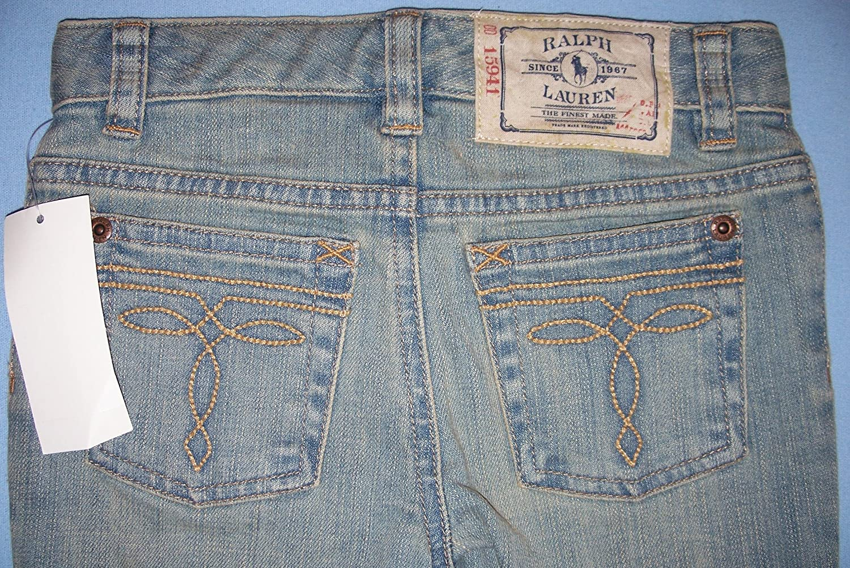Ralph Lauren Girls Jeans Designer Skinny Faded Washed Blue Denim